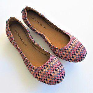 Lucky Brand Pink Aztec Print Ballet Flats NWOT